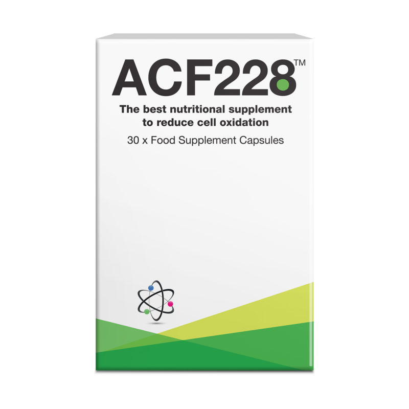 ACF228 product packaging for cell oxidation reduction dietary supplements