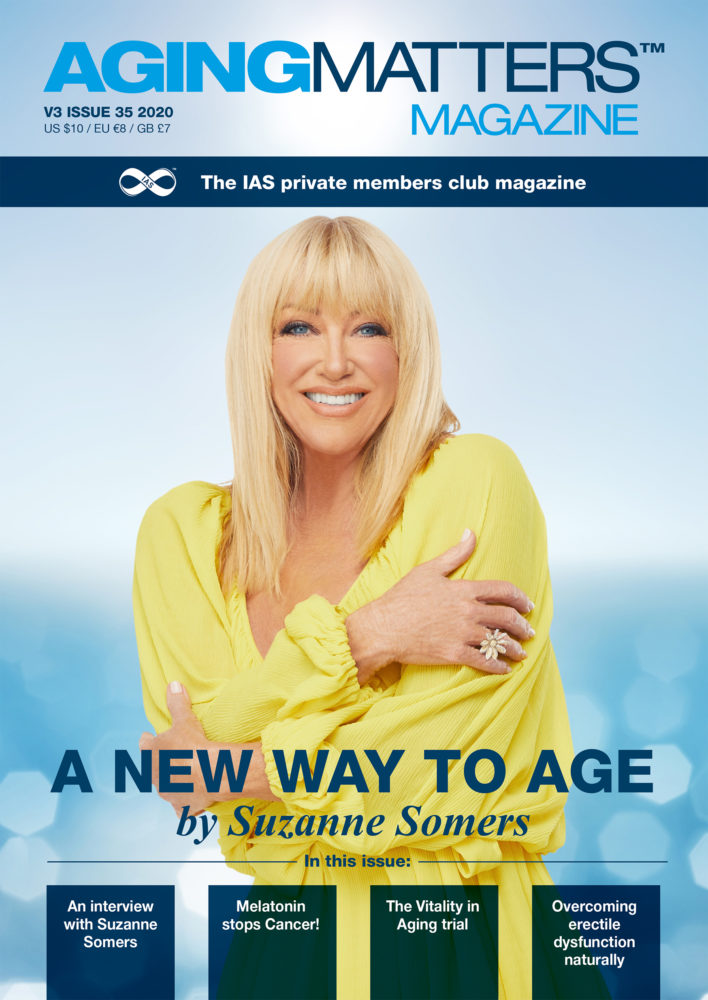 Aging Matters Magazine cover featuring Suzanne Somers