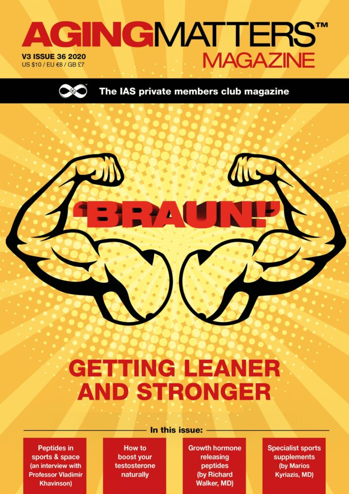 Aging Matters Magazine front cover with orange background and cartoon muscles
