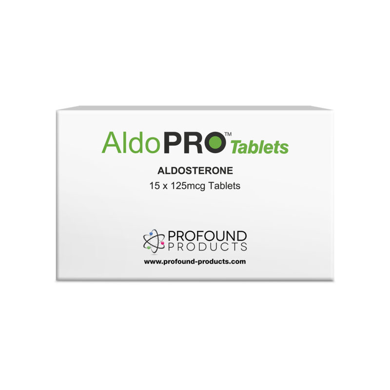 Aldo PRO Tablets product packaging in white showing it holds Aldosterone Tablets