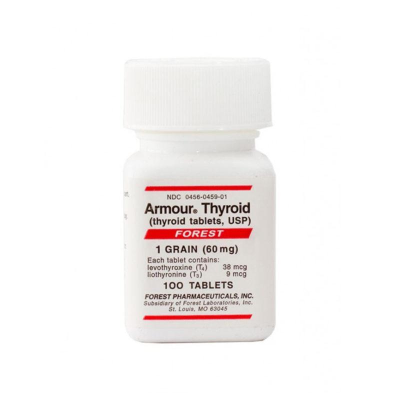 Armour Thyroid product bottle of 100 thyroid tablets