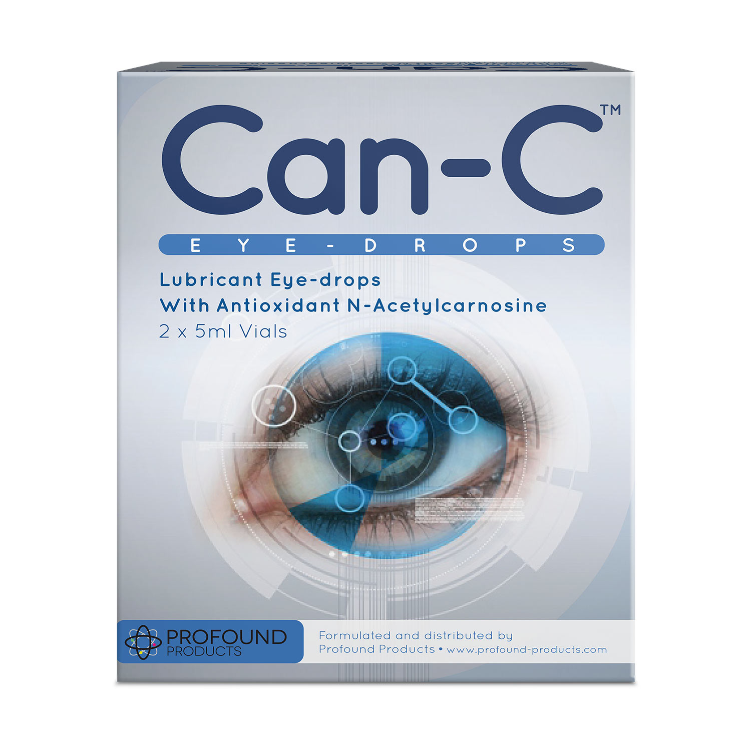 Can-C Lubricant Eye-Drops product packaging in light grey and blue