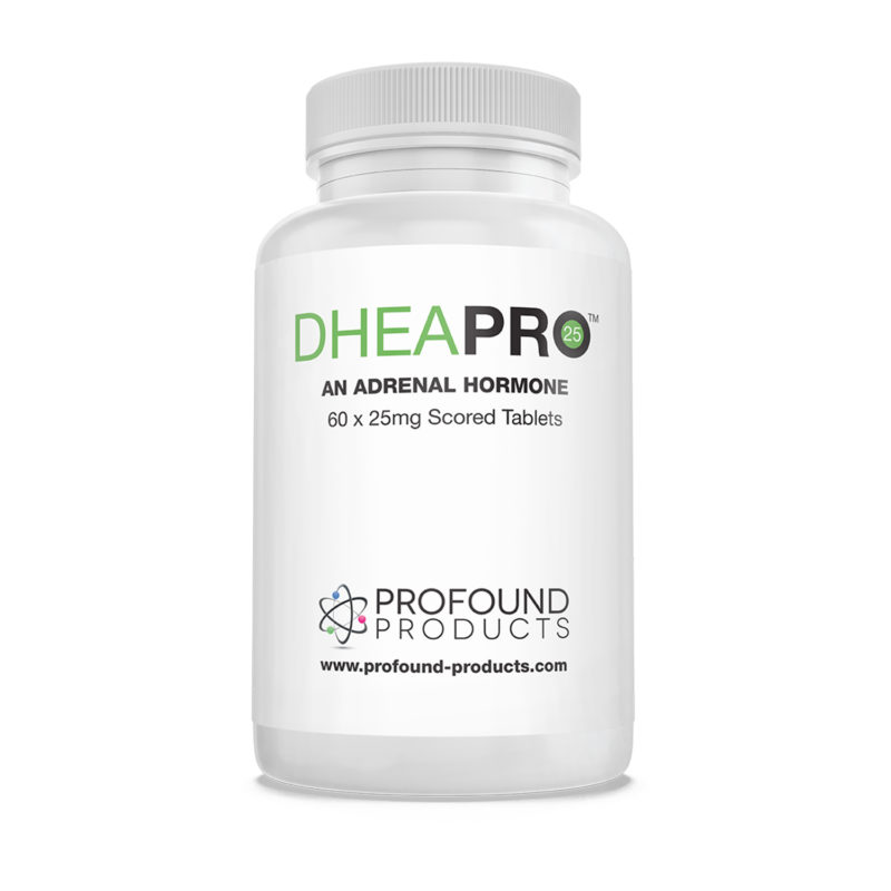 DHEA PRO an Adrenal Hormone tablet container with white background