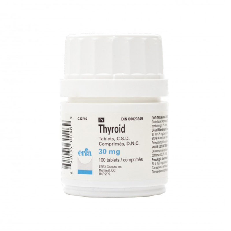 Thyroid Tablets in a white container