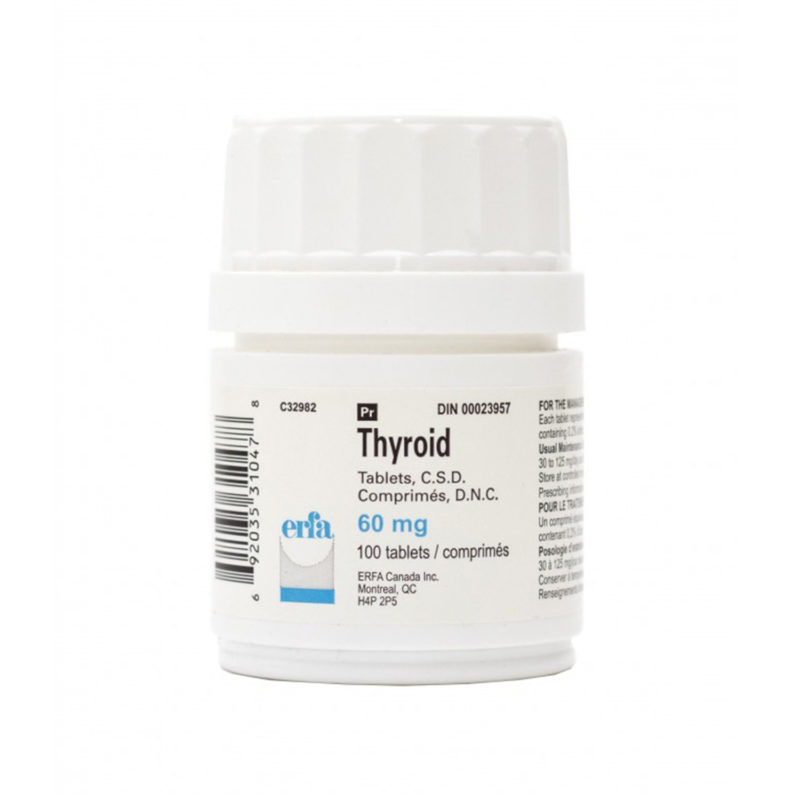White product packaging for Thyroid tablets