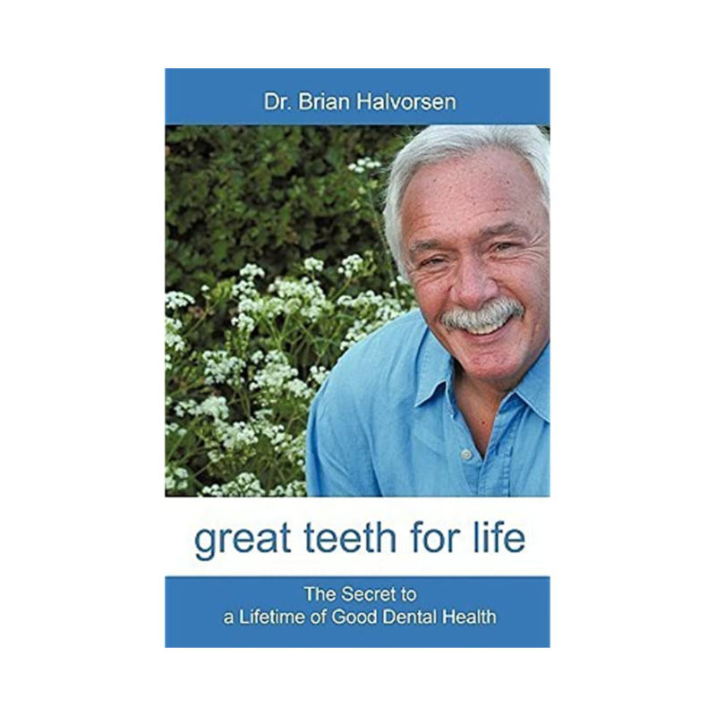 An elderly man smiling with 'the secret to a lifetime of good dental health' underneath