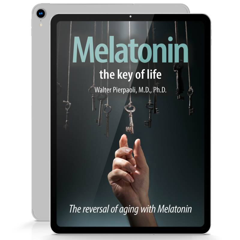 iPad with an e-book cover of 'Melatonin the key of life' by Walter Pierpaoli