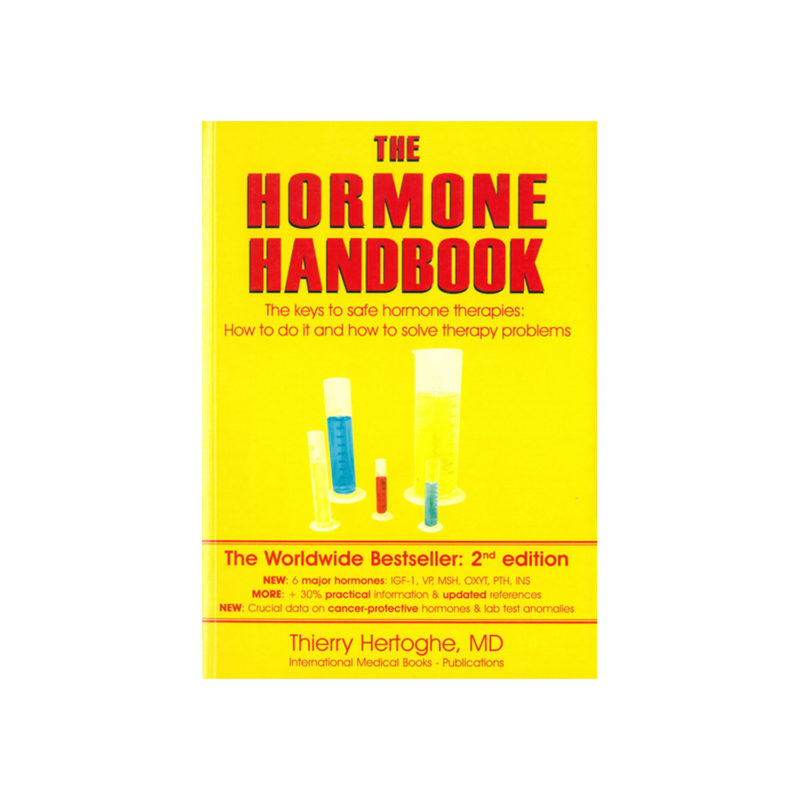 The Hormone Handbook with yellow background and red text