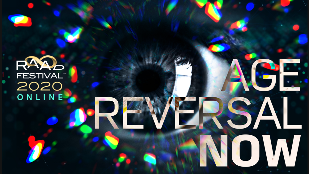 Close up of eye with Age Reversal Now text in inverted colours