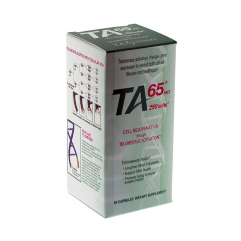 TA65 product packaging for Cell Rejuvenation dietary supplement