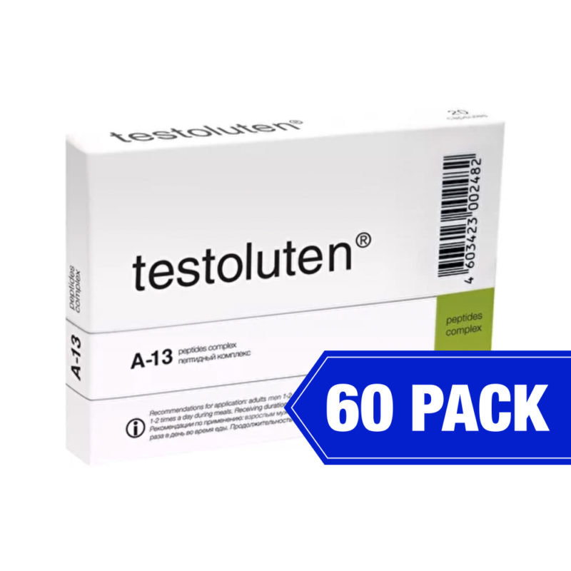 Testoluten product packaging for A-13 peptide complex