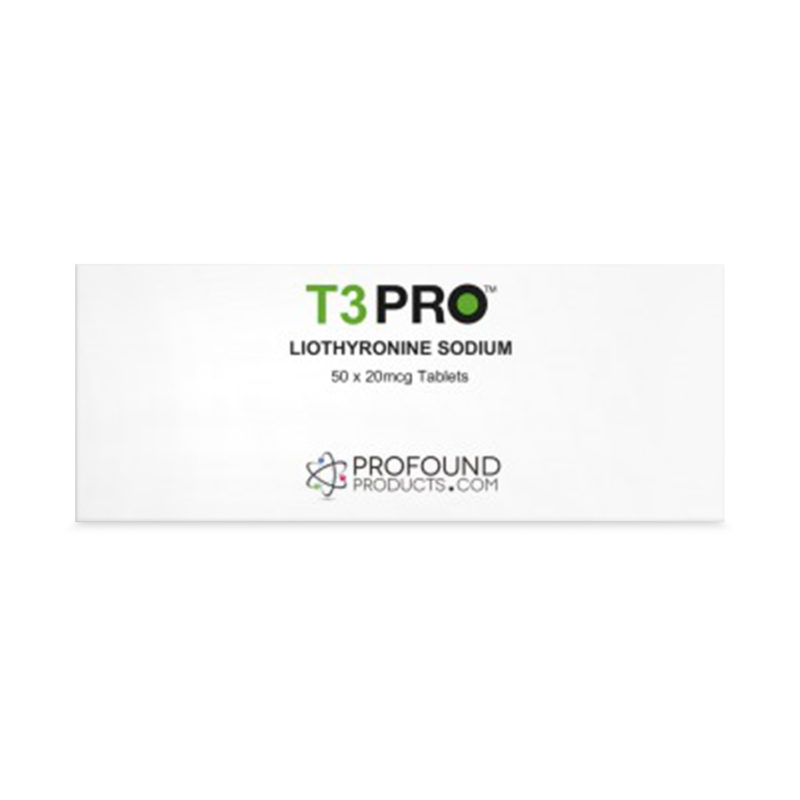 T3 PRO Liothyronine Sodium tablets product packaging in white with green and black text