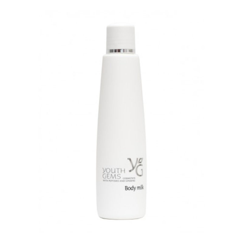 Youth Gems product packaging for body milk in a tall white bottle