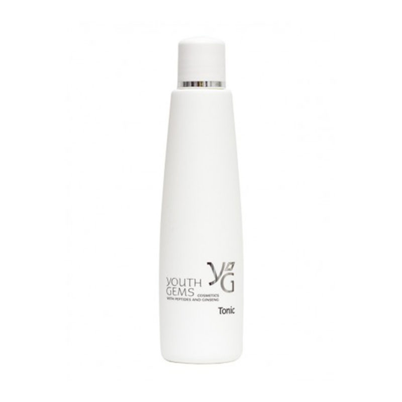 Youth Gems product packaging for tonic in a tall white bottle