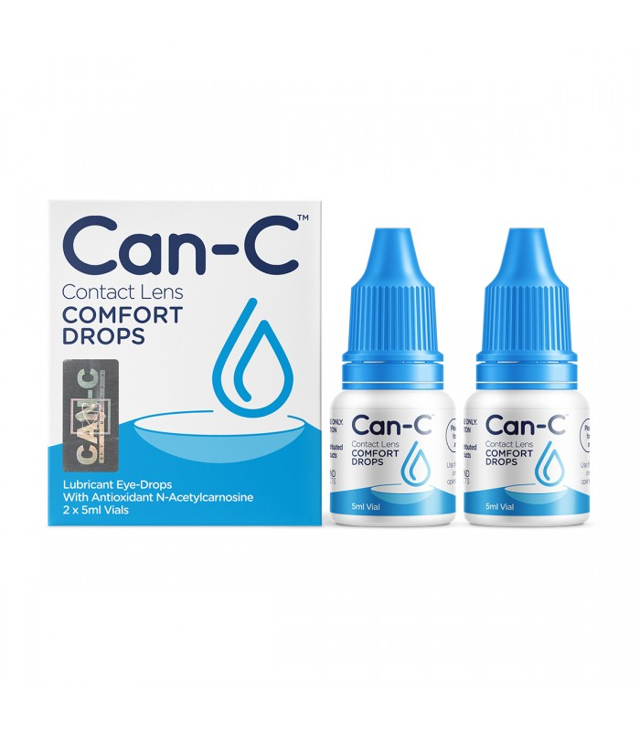 Can-C Contact Lens Comfort Drops product packaging in white and blue