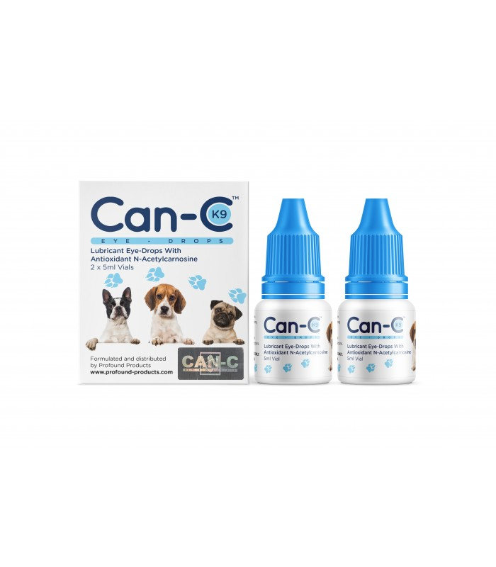 Can-C K9 Cataract Eye-Drops product packaging in white and blue