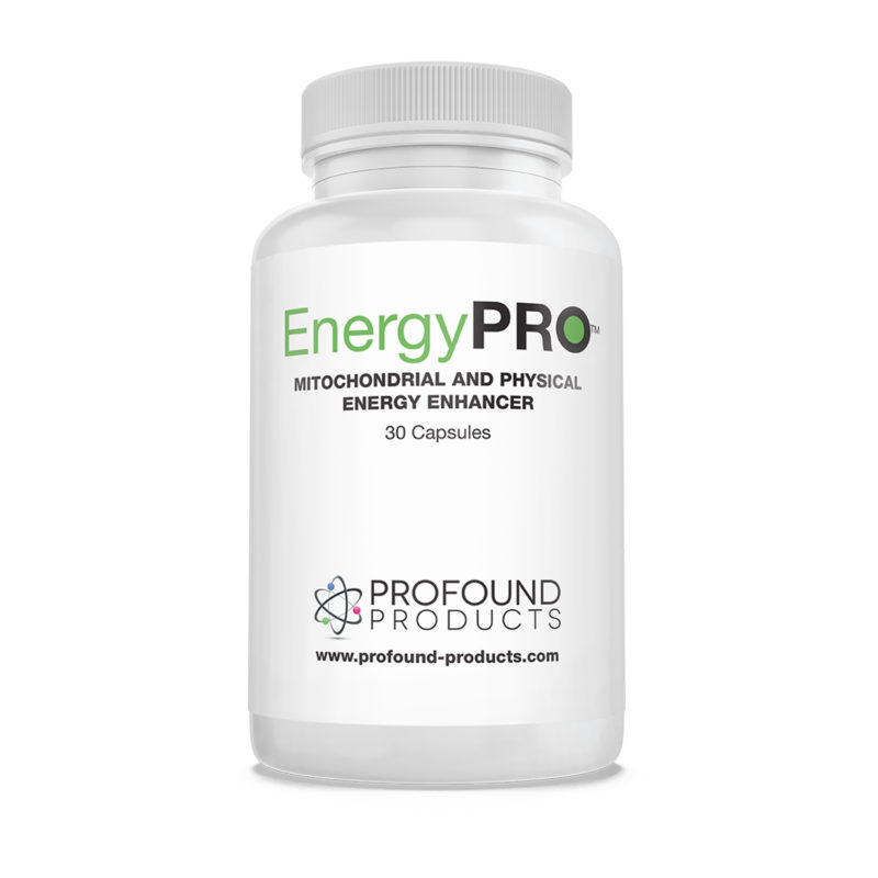 EnergyPro product packaging for Mitochondrial and Physical Energy Enhancer Capsules