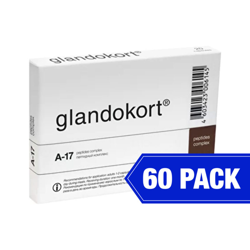 Glandokort peptides complex product packaging in white with black text
