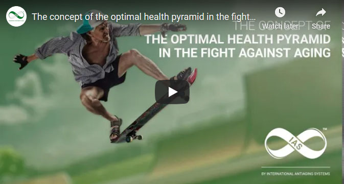 Screenshot of a YouTube video about the optimal health pyramid and anti aging.